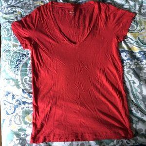 J. Crew red vneck vintage cotton T-shirt Sz M
